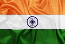 """Постер, картина, фотообои """"India - Waving national flag on silk texture"""""""