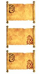 Set of ancient parchments