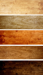 Set of wooden banners