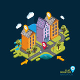 Flat landscape street GPS navigation infographic 3d