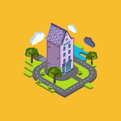 Flat landscape street infographic 3d isometric concept