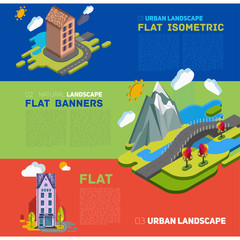 vector concept banner with nature landscape with the building