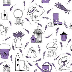 seamless pattern with lavender and garden accessories