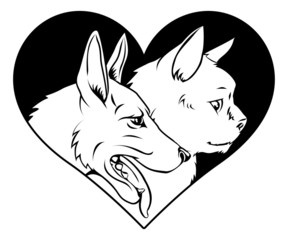 Cat and dog pet heart