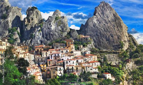 Leinwandbild Motiv beautiful mountain villages of Italy - Castelmezzano (Basilicata