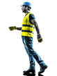 construction worker walking  safety vest silhouette