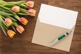 Fototapety Flowers, envelope and pen