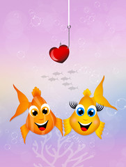 funny fishes in love