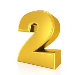 golden number 2 on white background
