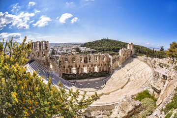 Famous Odeon theatre in Athens, Greece, view from Acropolis