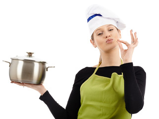 Woman cook with stainless pot