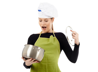 Surprised woman cook with stainless pot