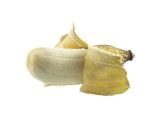 Cultivated banana - tropical fruit open peel on white