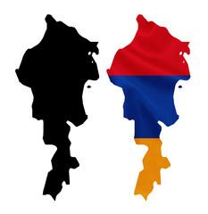Armenia - National flag on map contour with silk texture