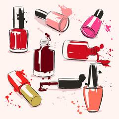 Hand drawing vector illustration with nail polish