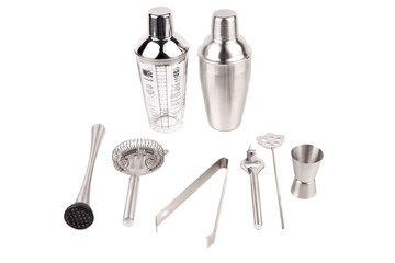 Cocktail shakers, strainer and jigger - Stock Image