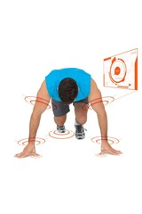 Composite image of determined young man doing push ups