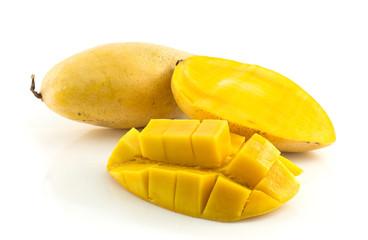 Fresh ripe mangoes on white