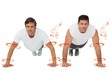 Composite image of portrait of two young men doing push ups