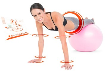 Composite image of fit woman doing push ups on fitness ball