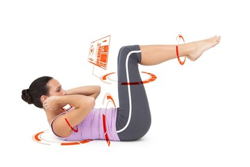Composite image of side view of a fit young woman doing crunches