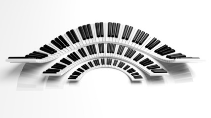 Three abstract semicircle piano keyboards on white background