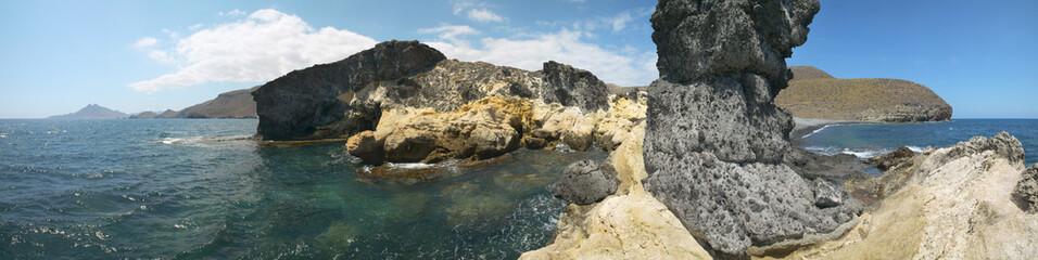 Mediterranean coastline and beach panoramic view in Almeria. Spa