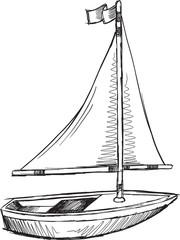 Doodle Sketch Sail Boat Vector Illustration Art