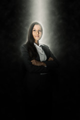 Glowing Smiling Office Woman on a Black Background