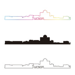 Tucson skyline linear style with rainbow