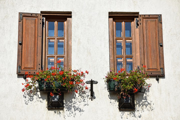 Windows of an old building with flowers