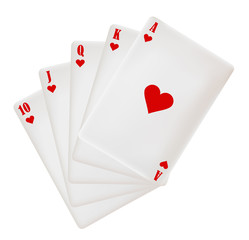 a set of playing cards. hearts