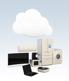 Smart home appliances with cloud object for IoT concept poster