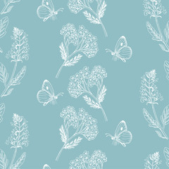 Seamless pattern with herbs on a blue background