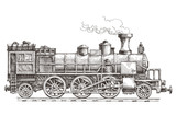 retro steam locomotive vector logo design template. train or