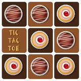 Illustration of chocolate ball and cup cake in tic-tac-toe game