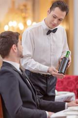Attractive couple visiting luxury restaurant