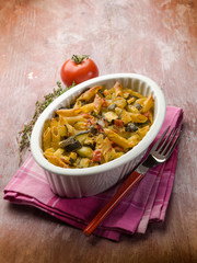 oven pasta with tomato sauce and zucchinis