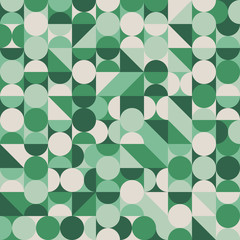 Abstract seamless pattern with green circles and semicircles.