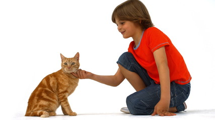 Cute boy with pet cat
