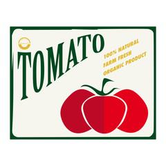Etichetta alimentare con un grosso pomodoro