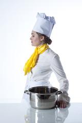 Cook carrying big bowl