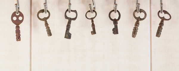 Bunch of old keys hanging on wall