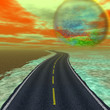 Landscape with road and alien celestial body nearing the Earth - 79499896