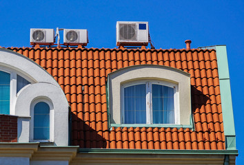 Air conditioners on the roof of a building