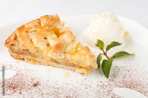 Fototapeta Piece of cake charlotte with apples