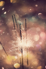 Sparkler and Colorful Bokeh