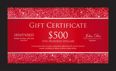 Luxury red gift certificate with borders from glitters