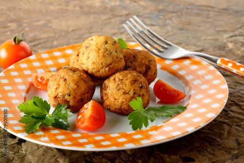 Fotobehang Vis Meatballs with fresh fish