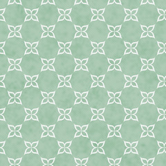 Pale Green and White Flower Symbol Tile Pattern Repeat Backgroun
